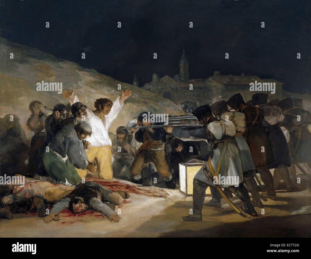 The Third of May 1808 by Francisco Goya, showing Spanish resisters being executed by Napoleon's troops. - Stock Image