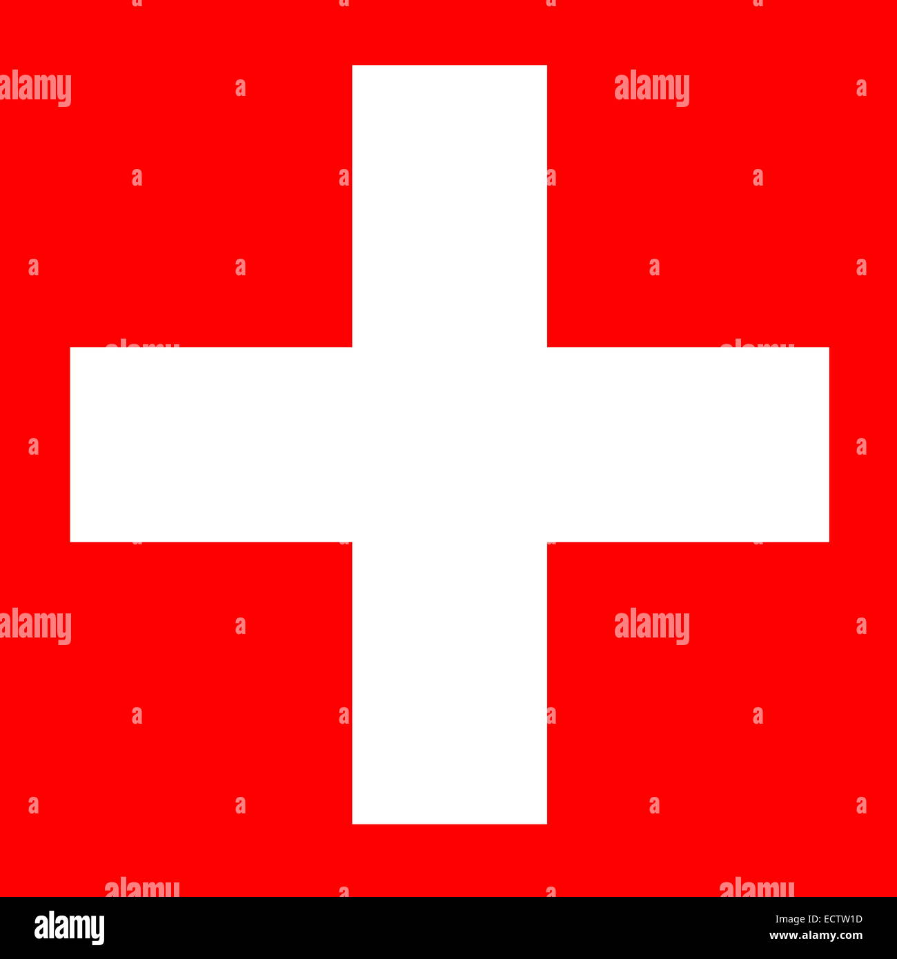 White Cross In Square Red Background For Swiss Flag Stock Photo