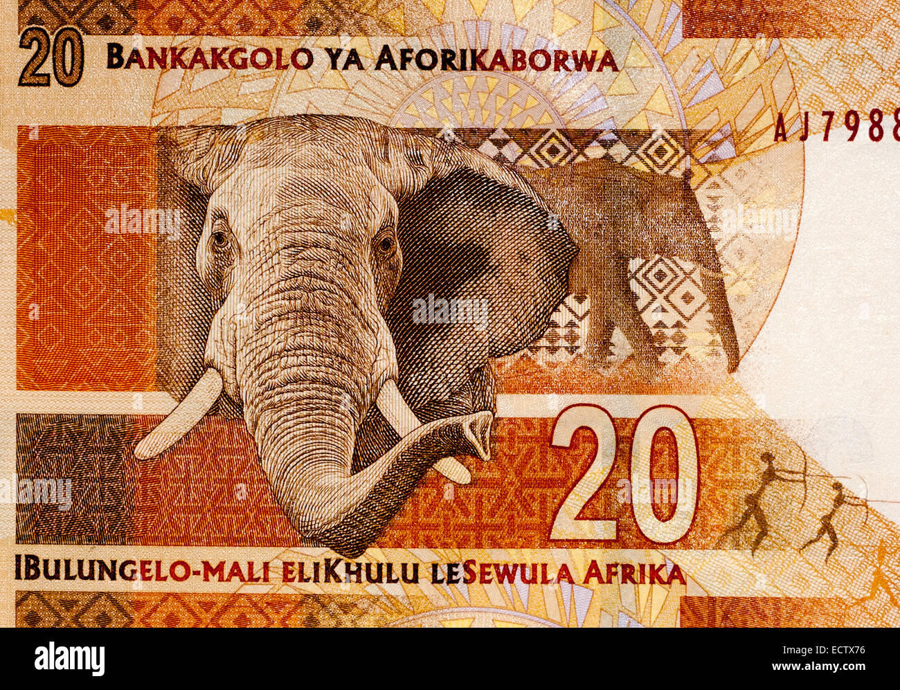 South Africa 20 Twenty Rand Bank Note - Stock Image