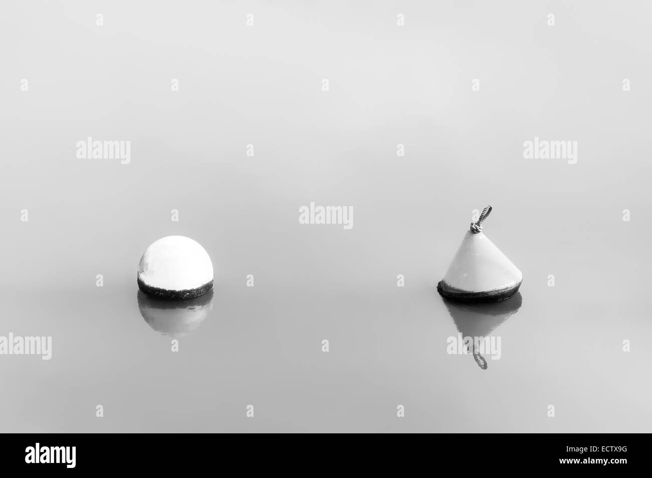Difference concept. buoys floating on water. Black and white - Stock Image