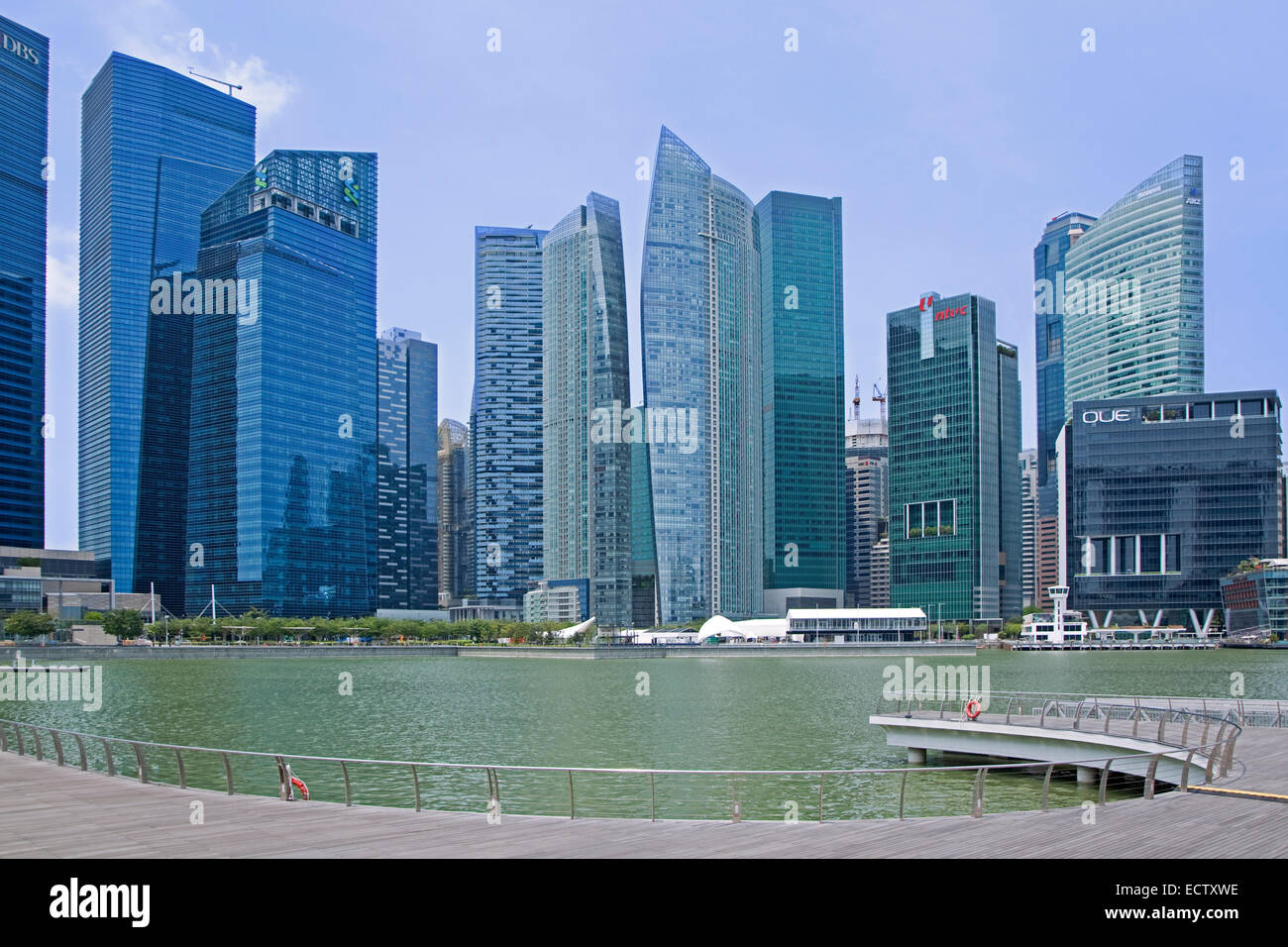 High-rise office blocks and skyscrapers in the Central Area / Central Business District of Singapore seen from the - Stock Image