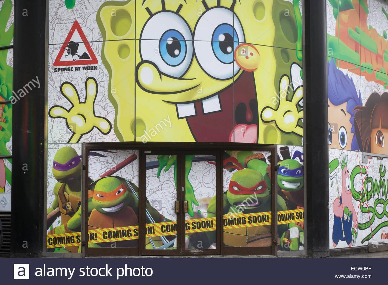 Billboard for the nickelodeon film SpongeBob SquarePants - Stock Image