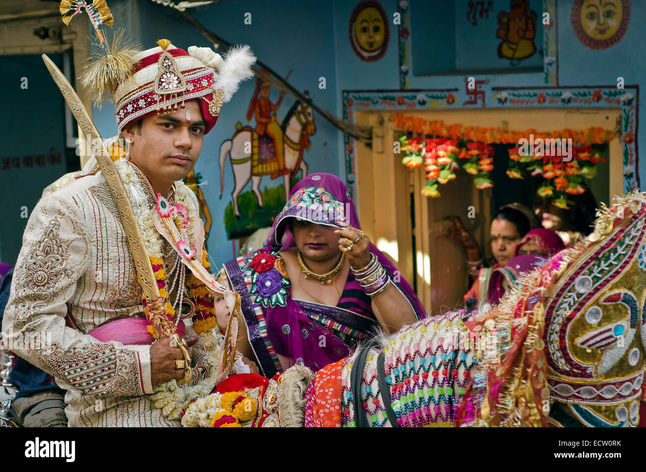 Groom Living His Mother House During Marriage Ceremony Ajmer Rajasthan India