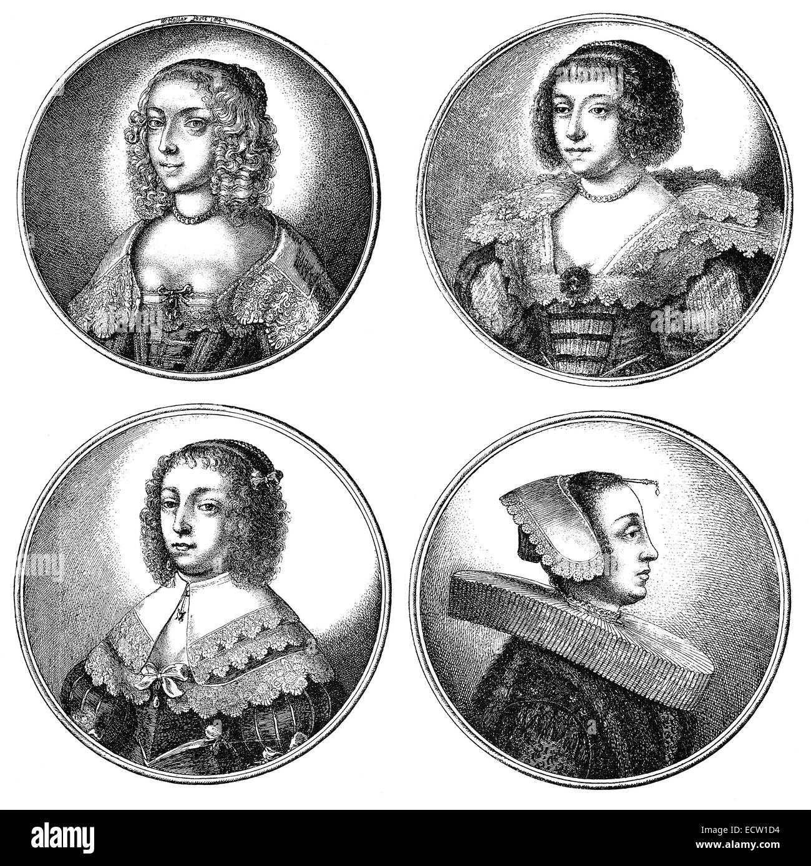 Traditional fashion in 17th century, Hairstyles and headwear, Europe, Mode im 17. Jahrhundert, Frisuren und Kopfbekleidungen - Stock Image