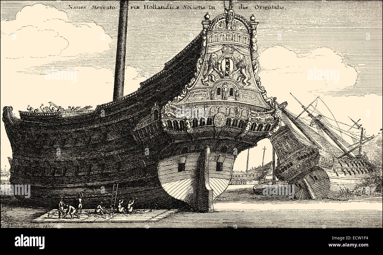 ship of an East Indiaman, a ship of the Dutch East India Company, 17th century, Historische Zeichnung, Schiffstyp - Stock Image
