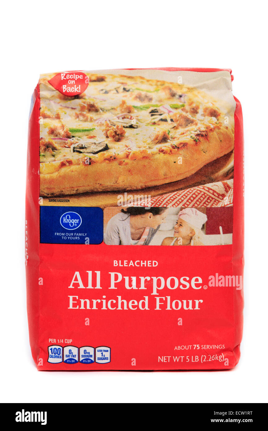 Kroger Brand Bleached All Purpose Enriched Flour Stock Photo