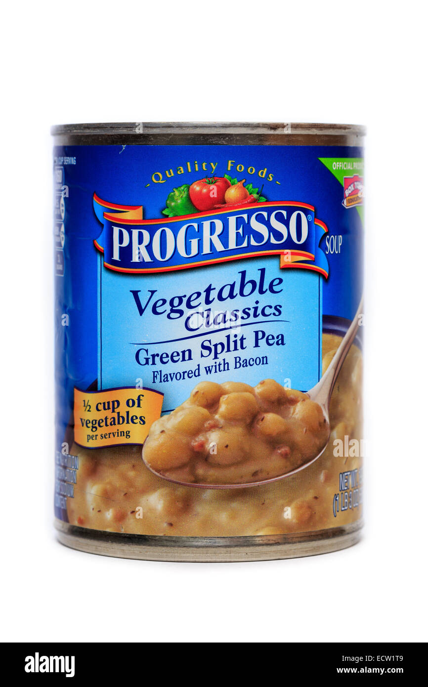 Progresso Green Split Pea Soup flavored with bacon - Stock Image