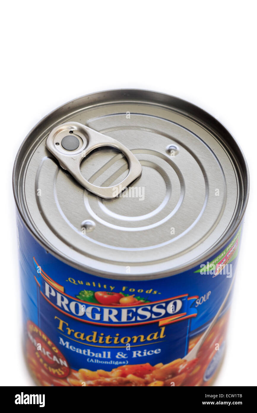 A pull tab for opening a soup can Stock Photo