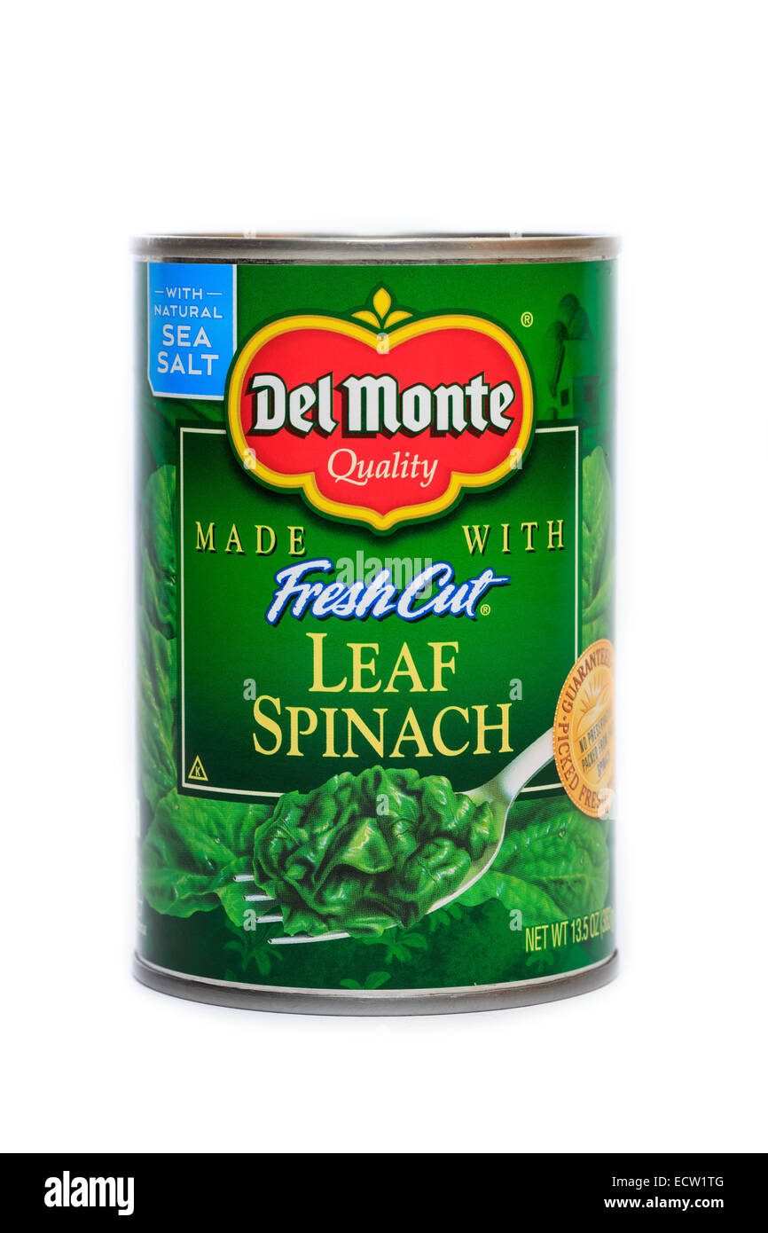 Del Monte Foods Canned Fresh Cut Leaf Spinach Stock Photo