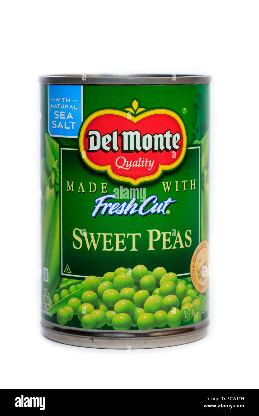 Del Monte Foods Canned Fresh Cut Sweet Peas Stock Photo