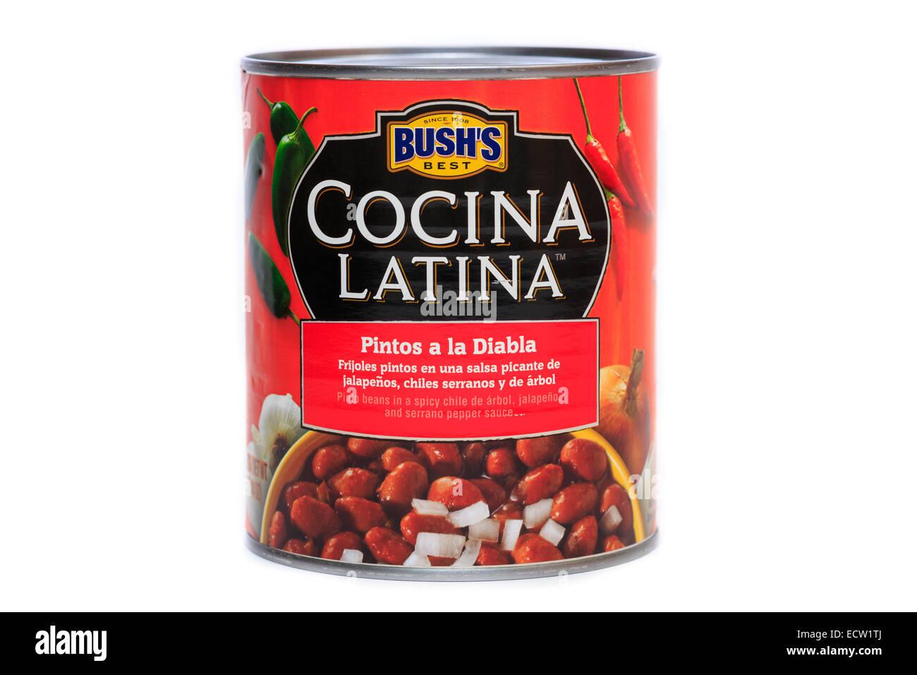Bush's Best Cocina Latina Pintos a la Diablo Pinto Beans Stock Photo