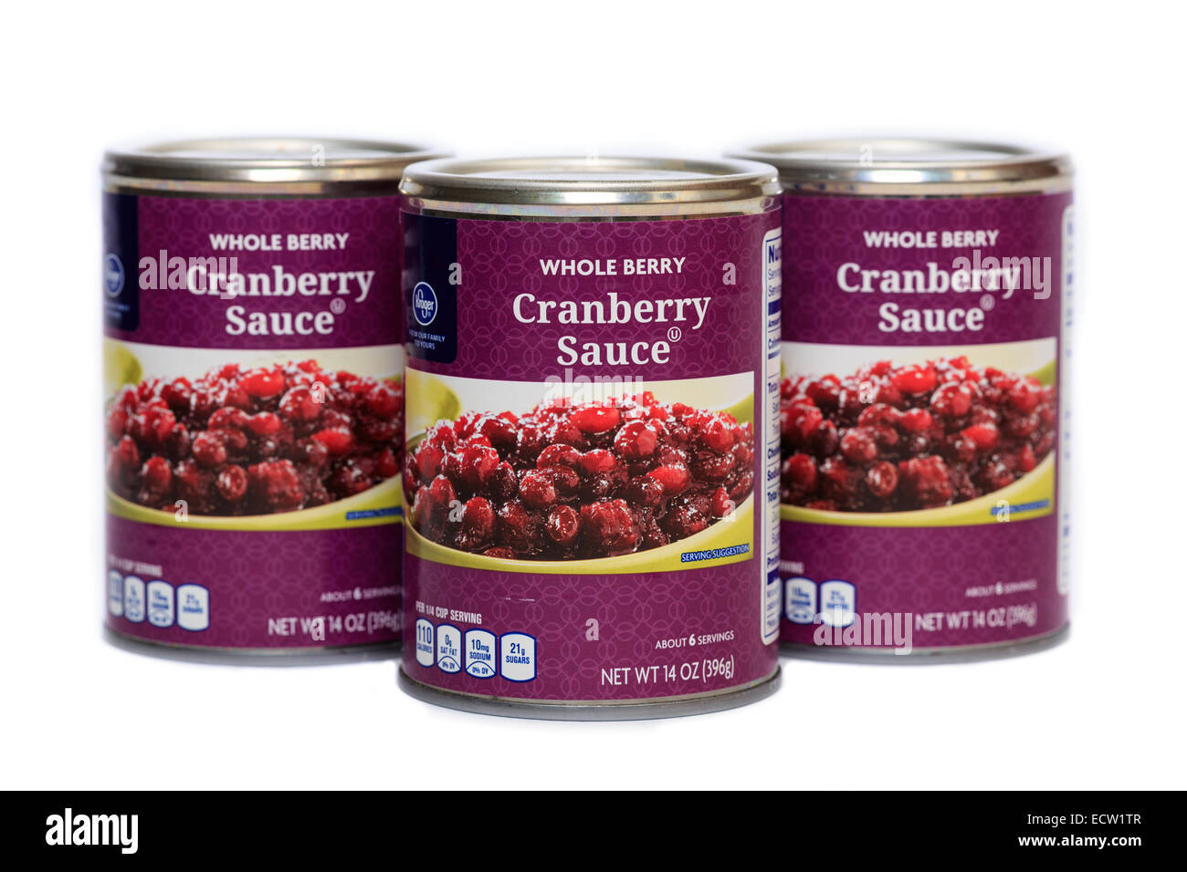 Kroger Brand Canned Whole Berry Cranberry Sauce Stock Photo