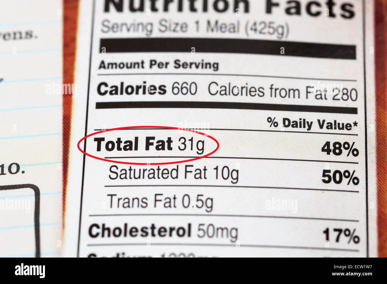 A package from a prepared meal with nutrition information indicating a high fat content Stock Photo