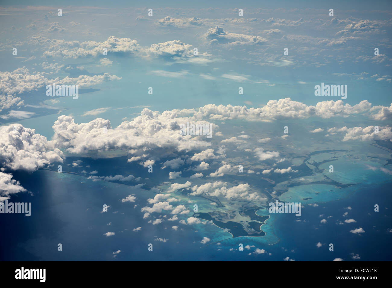 Aerial view of the remote Crooked Island in the Bahamas in the Atlantic Ocean - Stock Image