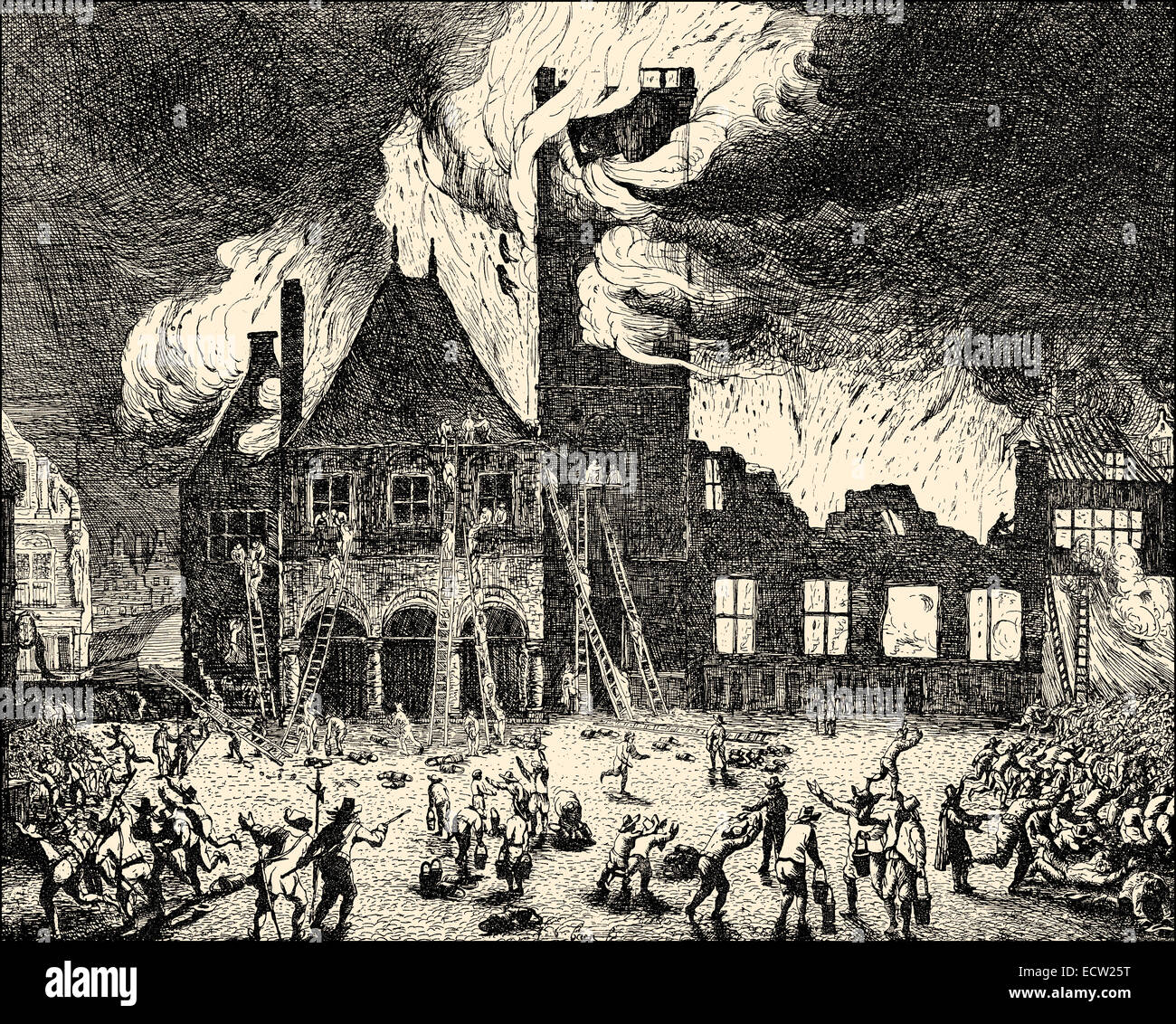 The large fire, Amsterdam town hall, 1652, the Netherlands, Europe, der Großbrand des Rathauses, Amsterdam, - Stock Image