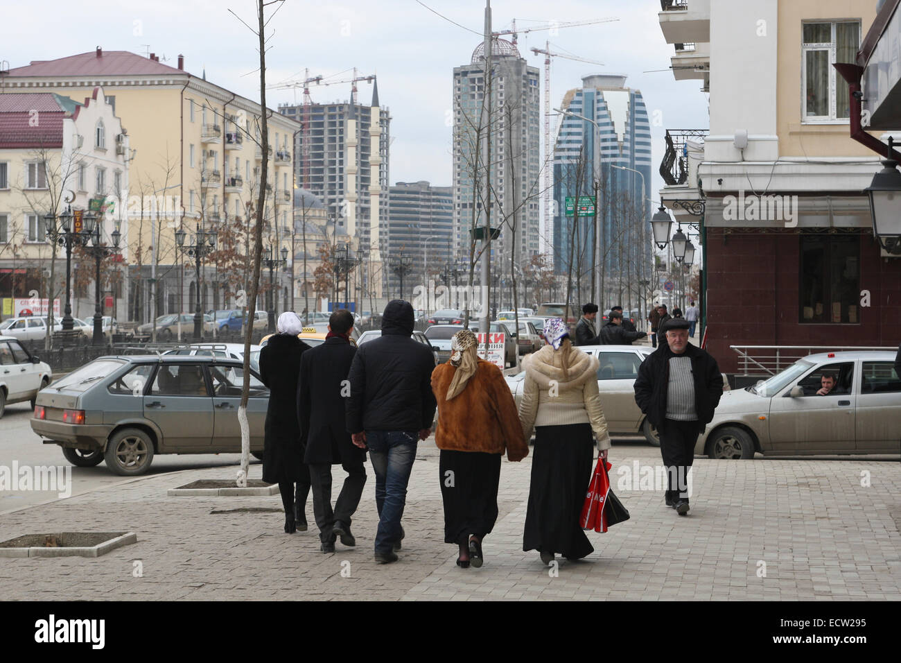 Putin Avenue, the former Victory Avenue, in the centre of the Chechen capital Grozny, Russia. It is the main street - Stock Image