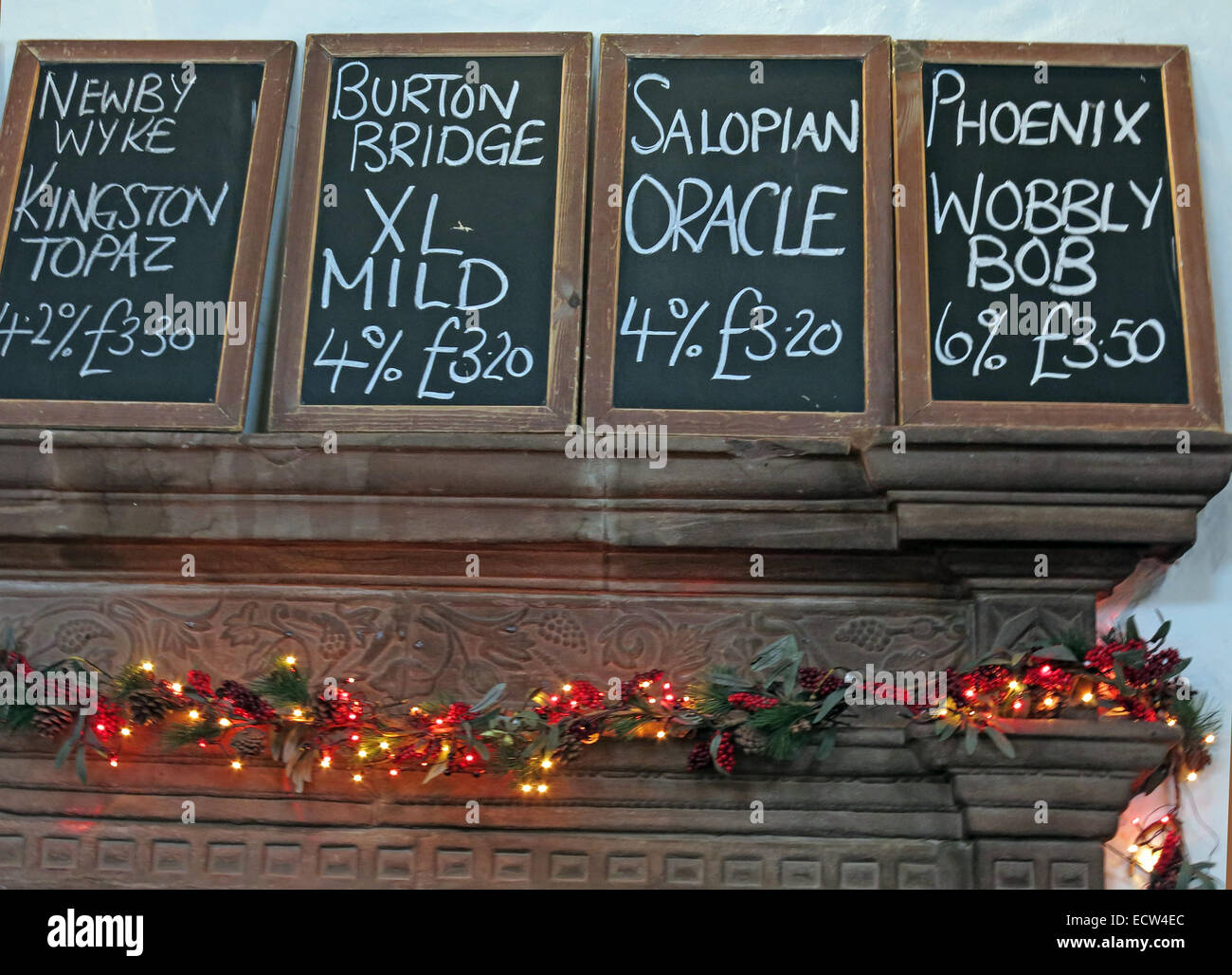 The Brewery Tap,list of beers,Chester,Lower Bridge St,Cheshire,England,UK - Stock Image