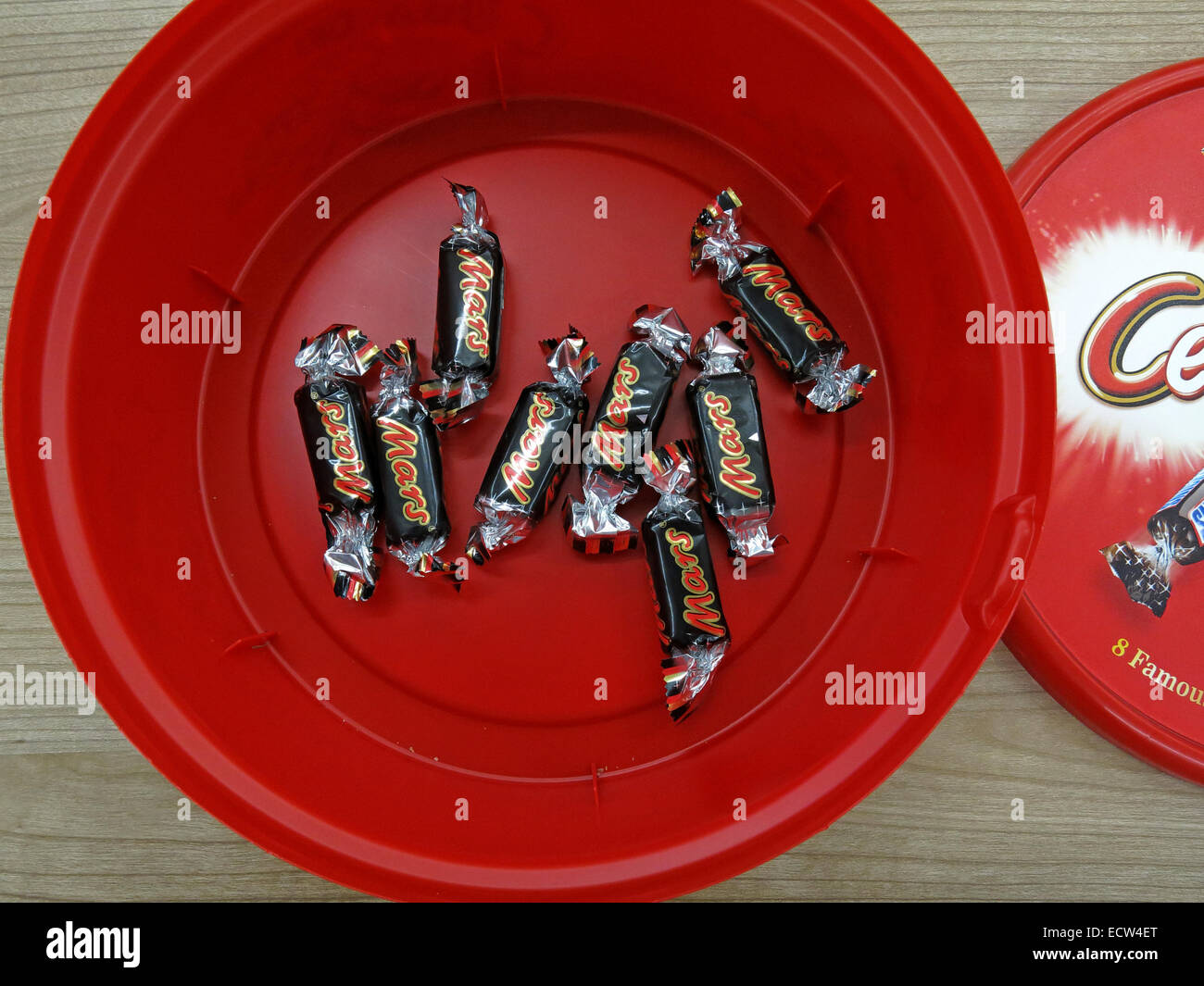 The last unpopular chocolates from a celebrations tin at Christmas Mars Bars - Stock Image
