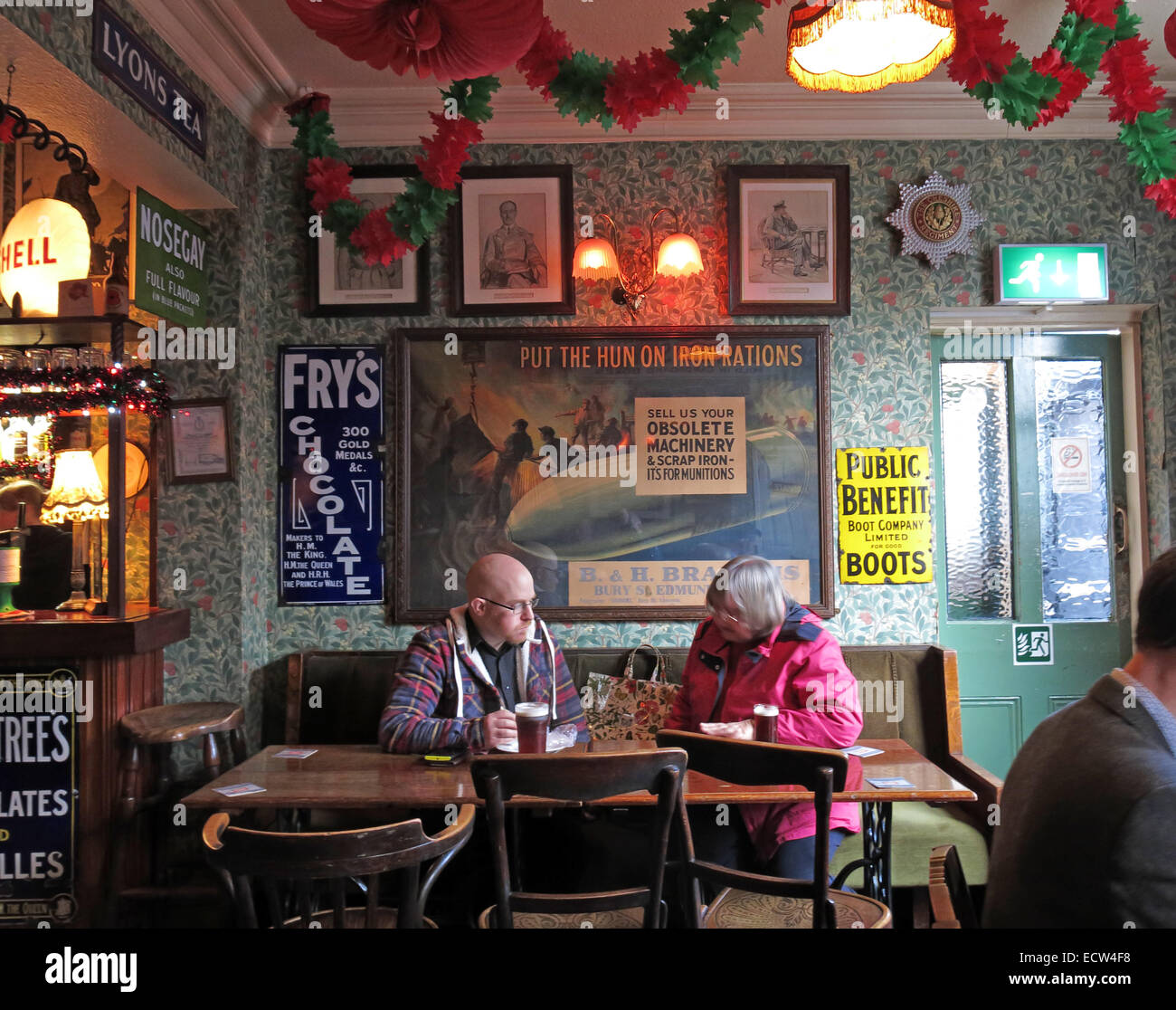 The Albion Inn, classic English Pub in Chester, England,UK with 2 drinkers - Stock Image