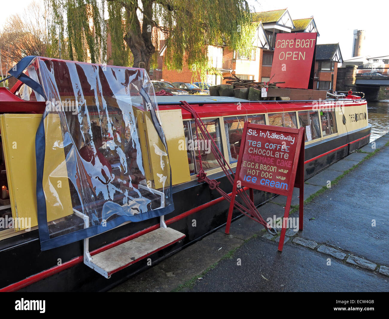Canal Cafe Narrowboat, Chester,Cheshire,England,UK - Stock Image