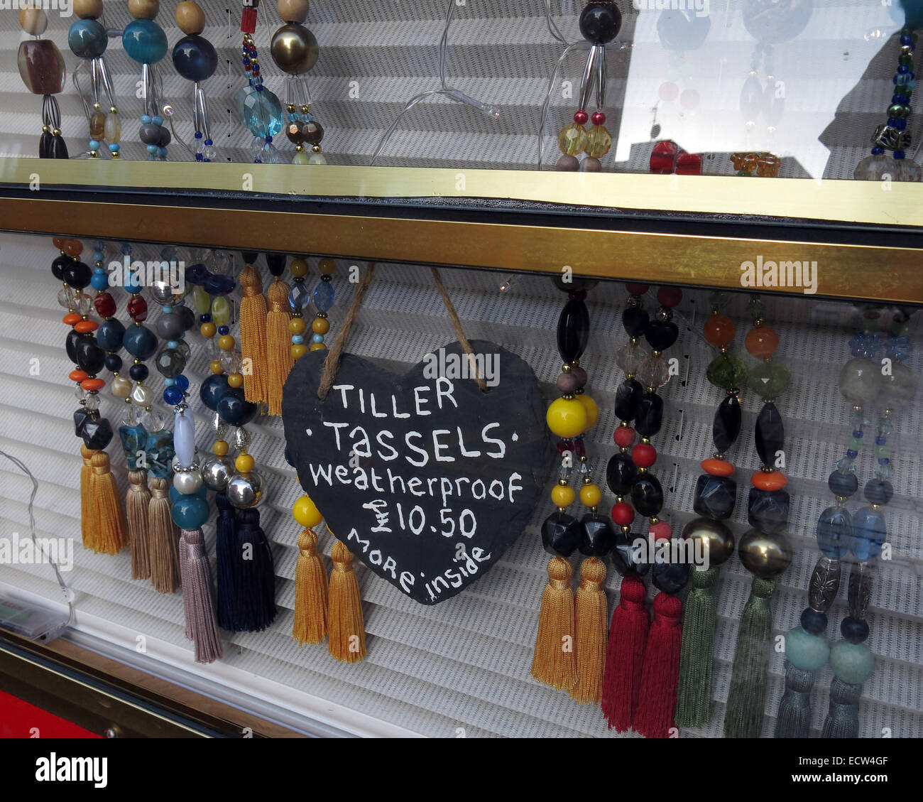 Tiller Tassels, Canalside jewellery, Chester Canal, Cheshire, England, UK - Stock Image