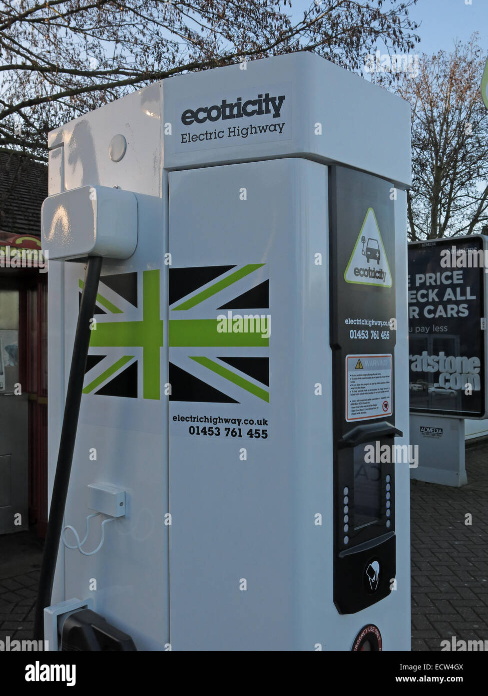 Ecotricity electric car charging station Warwick Services M40, Warwickshire, England UK - Stock Image