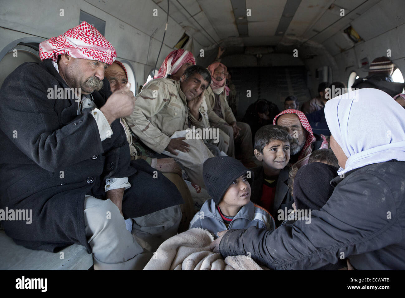 Dec. 11, 2014 - Sinjar Mountains, Iraqi-Kurdistan, Iraq - 11/12/2014. Sinjar Mountains, Iraq. Yazidi refugee children - Stock Image