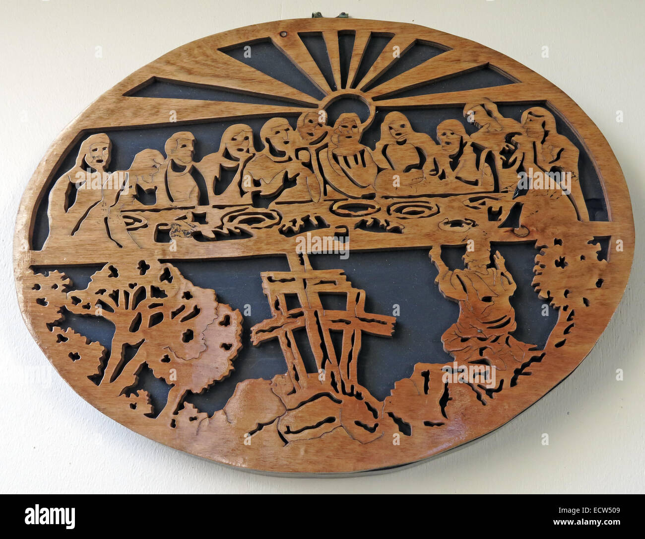 Wood carved last supper scene from St Marys Ardley, Oxfordshire, England, United Kingdom Stock Photo