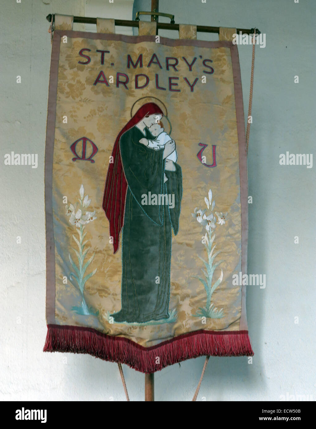 Fabric Banner from St Marys Church Ardley, Oxfordshire, England, United Kingdom - Stock Image