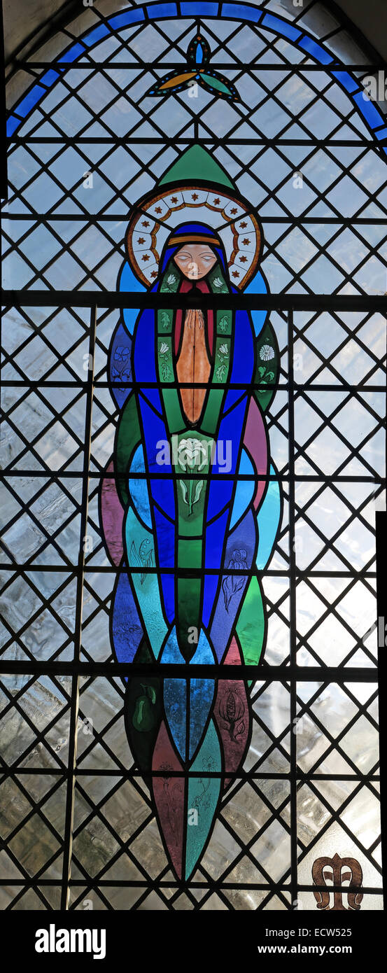 Millennium Stained Glass Window, St Marys Ardley, Oxfordshire, England, United Kingdom - Stock Image