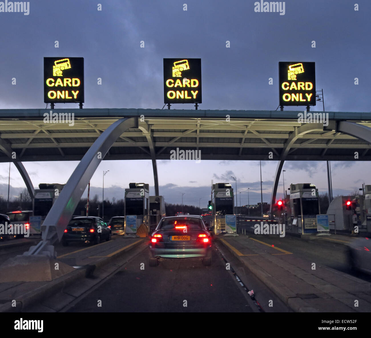 Cars Queuing M6 Tolls Plaza area at Great Wyrley , Staffs , England, UK Stock Photo