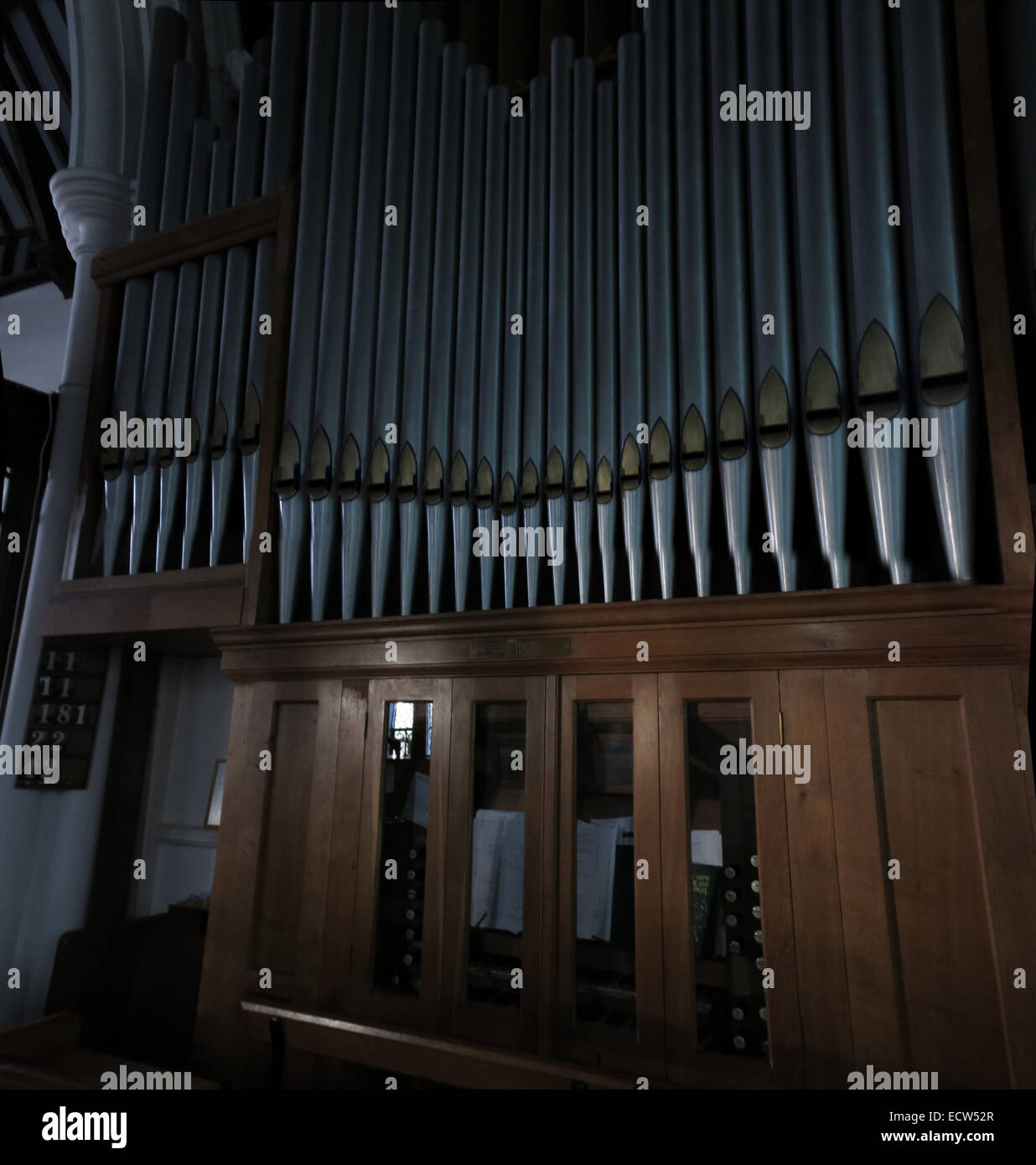 Holy Trinity Church Woodgreen Witney Pipe Organ, West Oxfordshire, England, UK - Stock Image