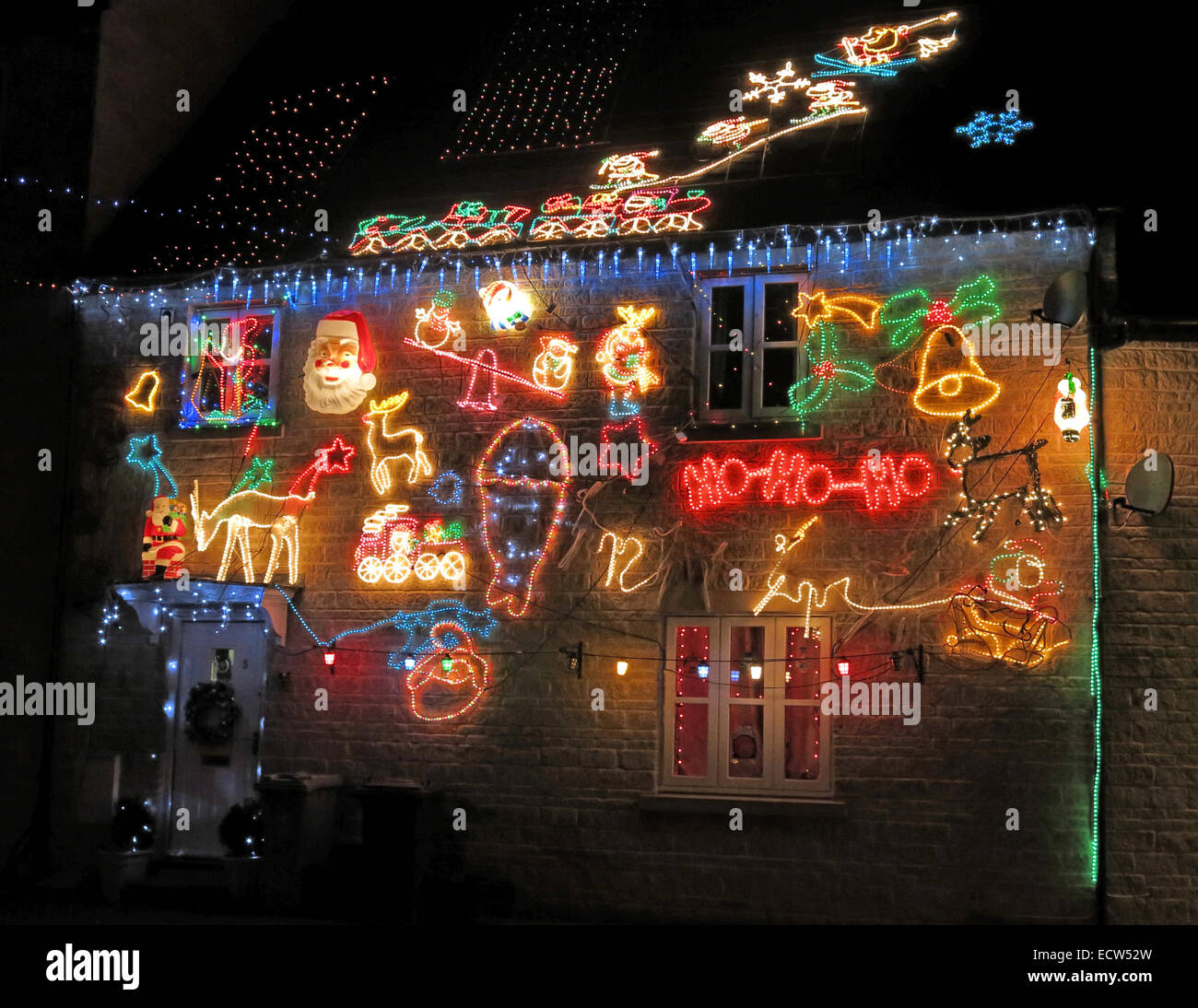 Christmas lights being overdone on a house Stock Photo
