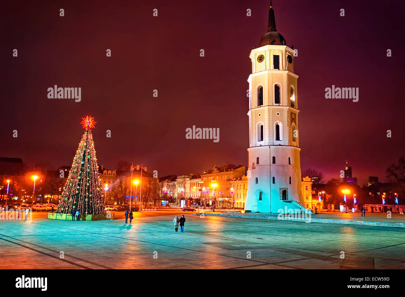 Cathedral square in Vilnius city at Christmas week - Stock Image