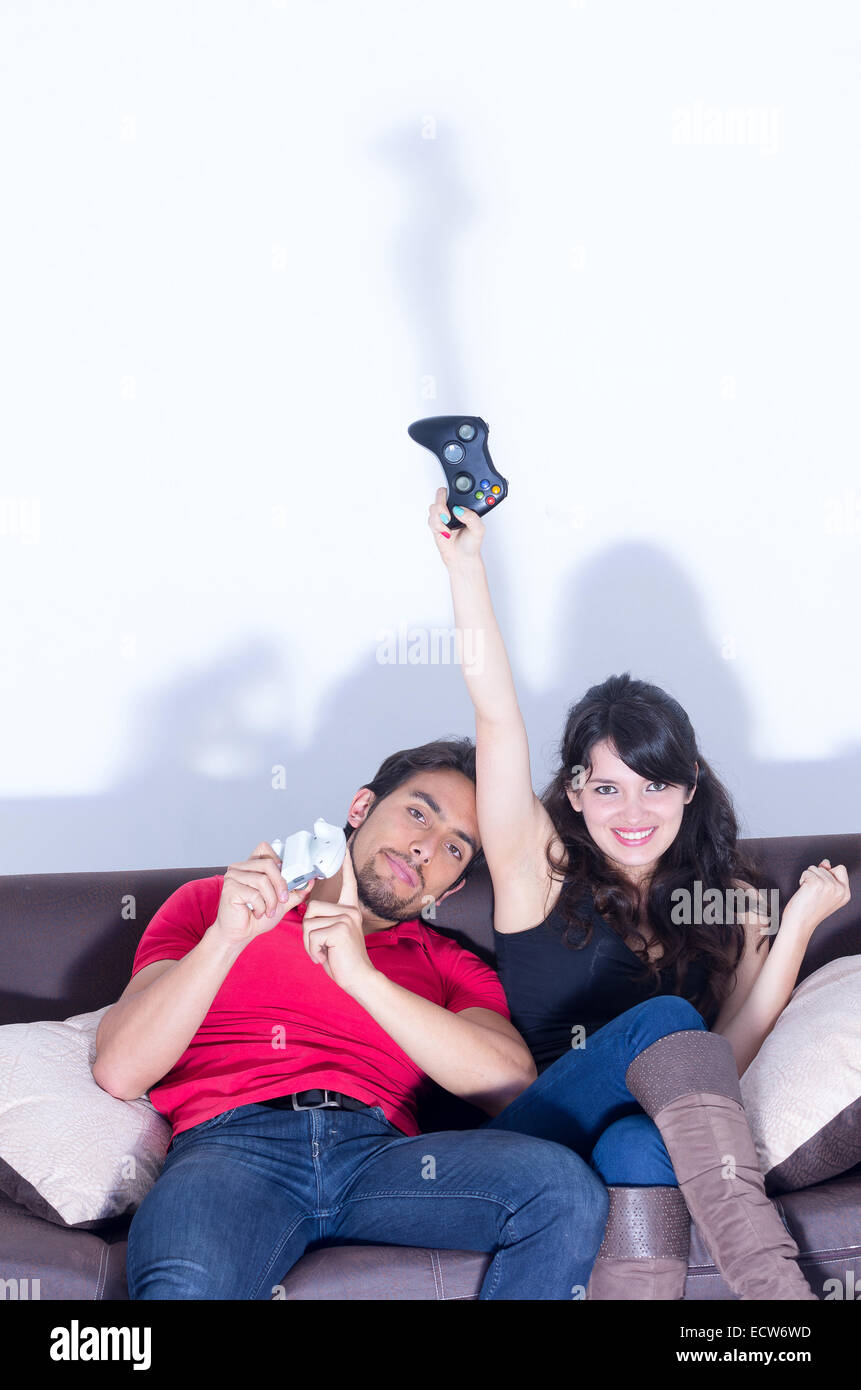 Young Cute Couple Playing Video Games Stock Photo Alamy