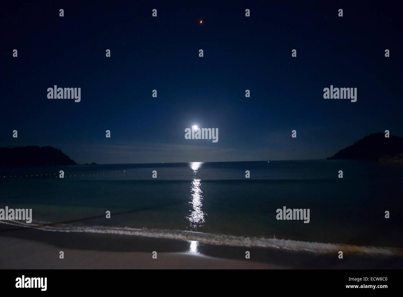 Moonrise on Koh Phangan, Thailand - Stock Image