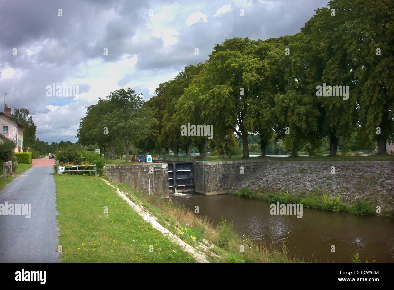 A lock - Ecluse - on the Mayenne River, France Stock Photo