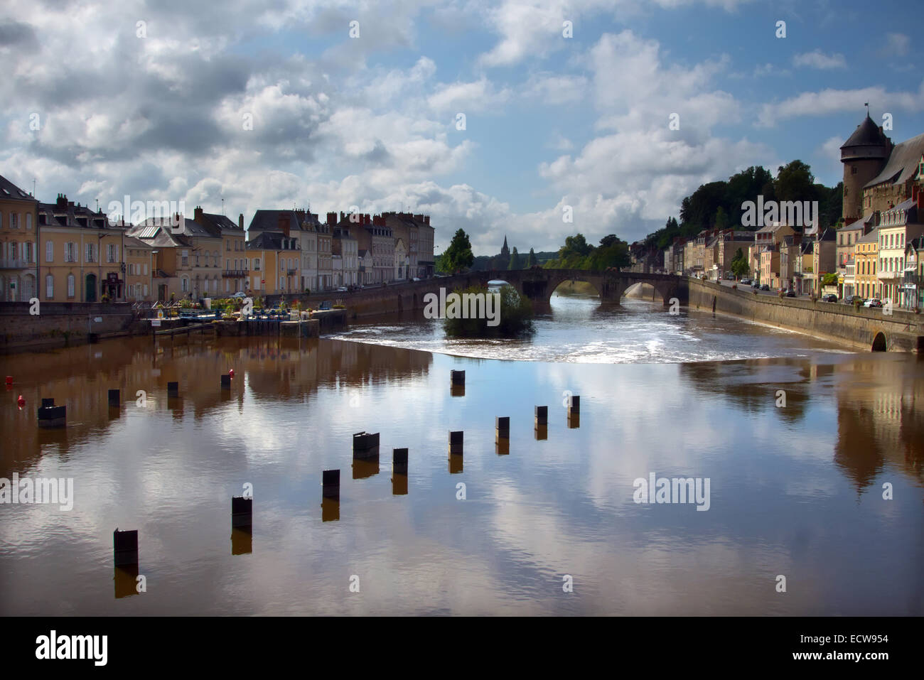 Chateau Gontier, Mayenne, France Stock Photo