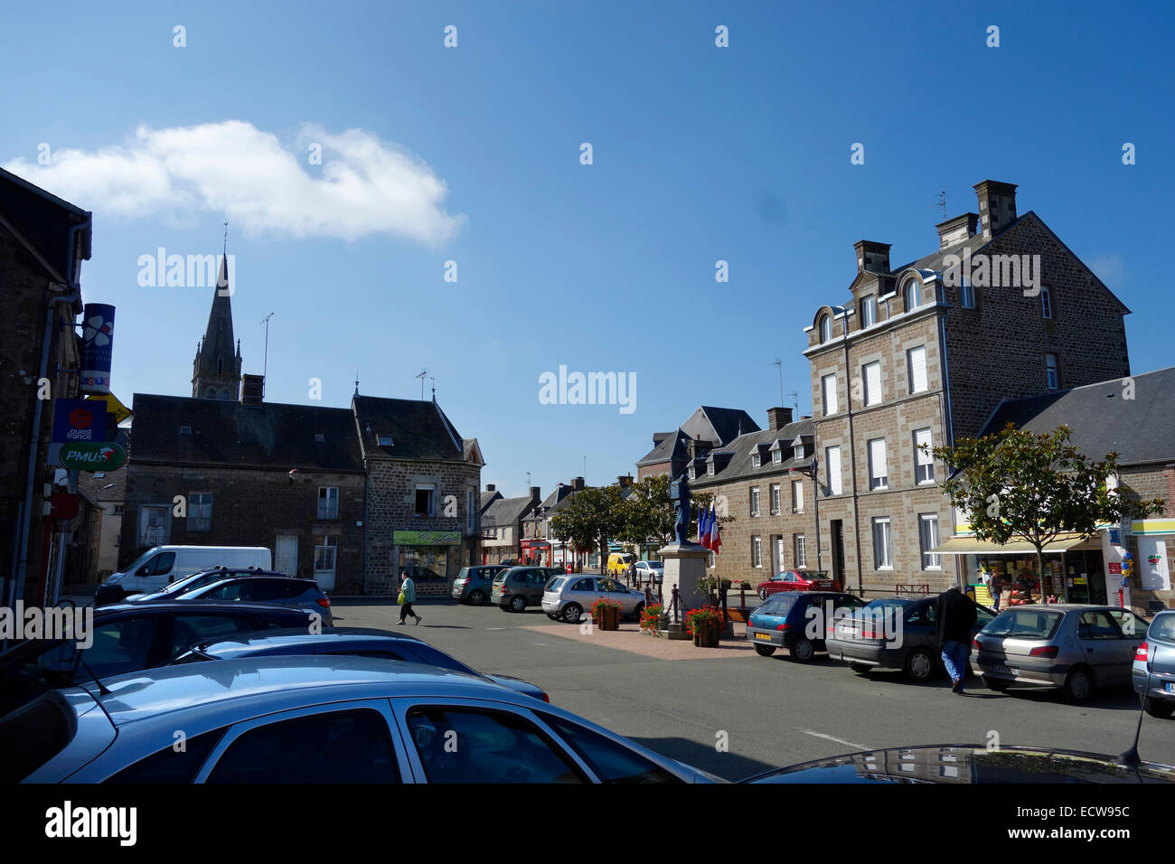 Ceaucé - a small town in Mayenne, France with no out of town supermarkets and a thriving centre - Stock Image