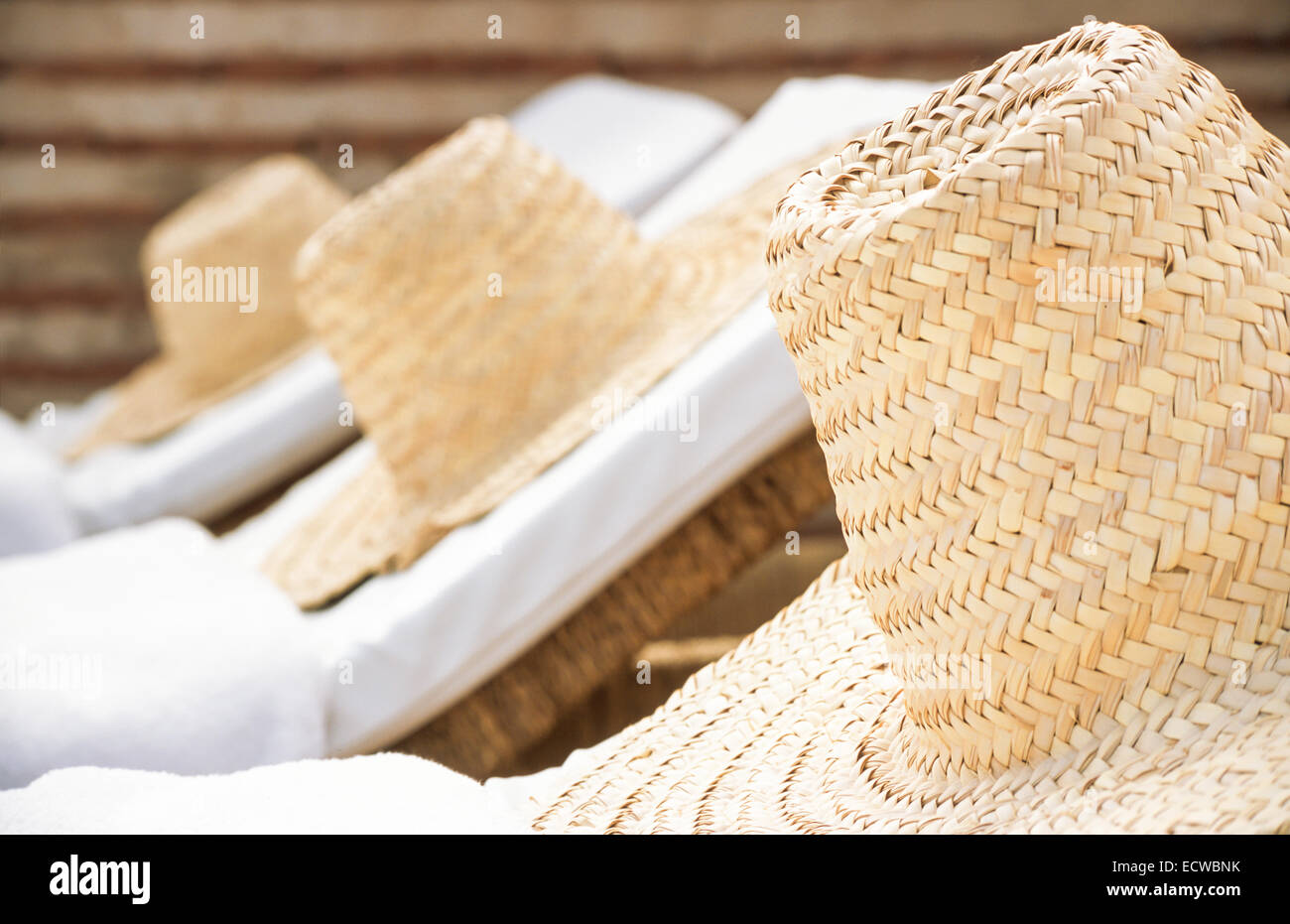 Luxury Summer vacation and relaxation  Straw hats on a row of sun loungers 4295c2a35e7