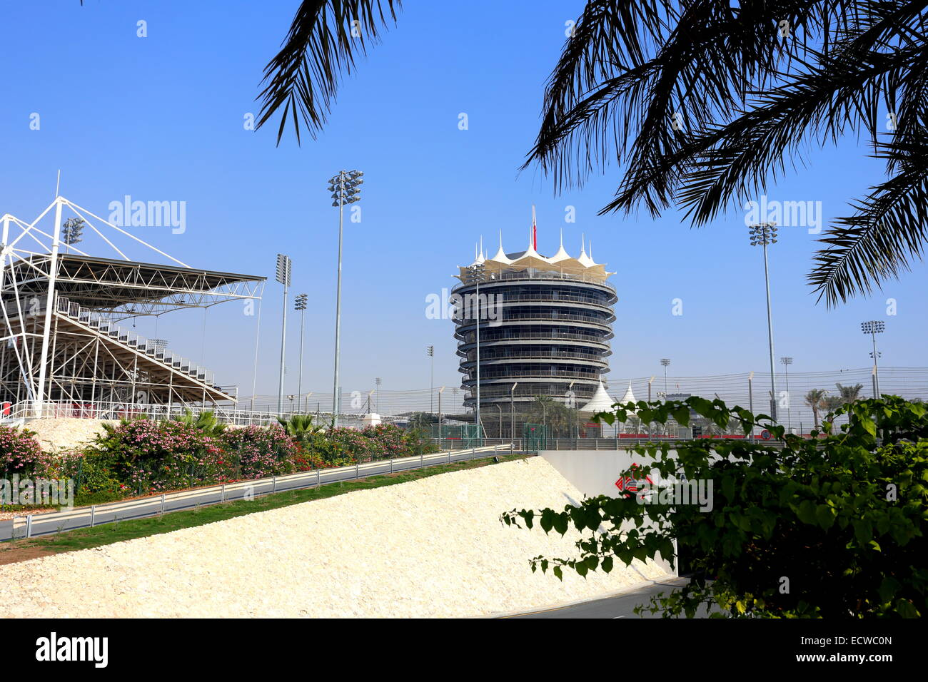 VIP tower and stand at the Formula 1 circuit, Sakhir, Kingdom of Bahrain - Stock Image