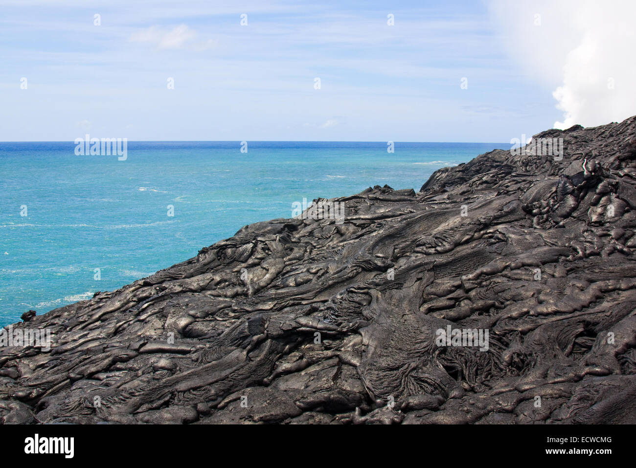 Lava flow (smooth pahoehoe type) - Stock Image
