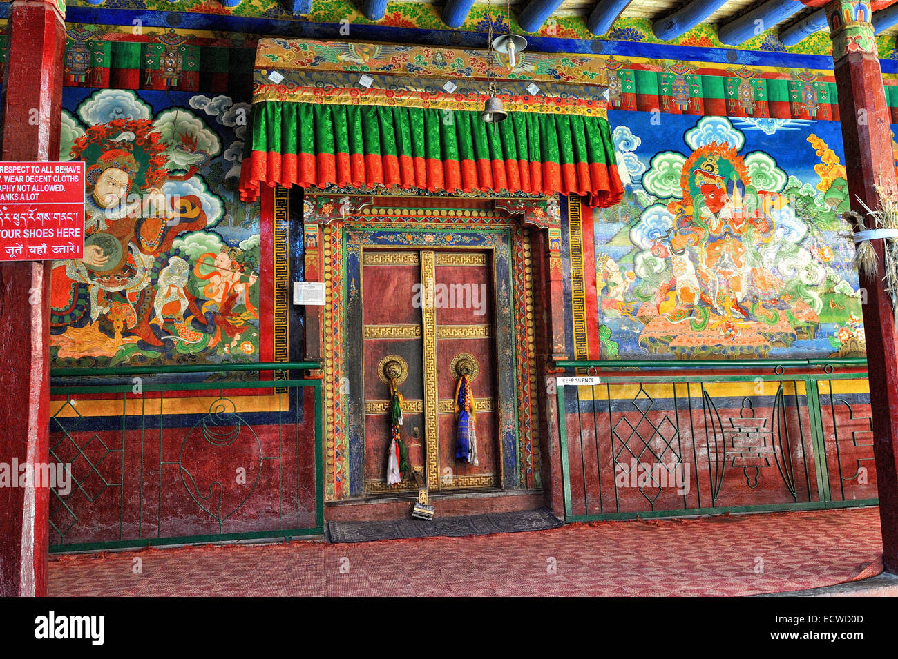 The 500 yrs old paintings adoring the walls of the Lamayuru monastery - Stock Image