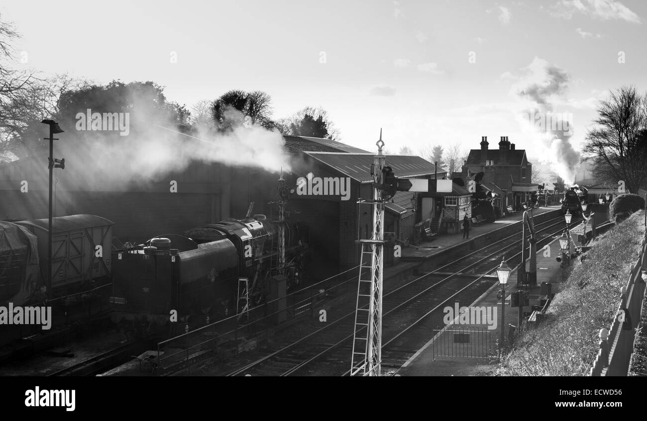 Steam engines at Ropley Station on the Mid-Hants Railway, also known as The Watercress Line. - Stock Image