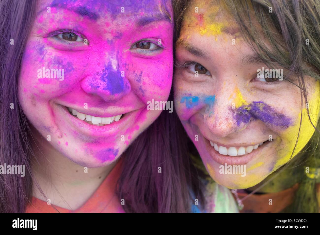 Color Blast / Color Run / Color Me Rad a  paint festival runner - Stock Image