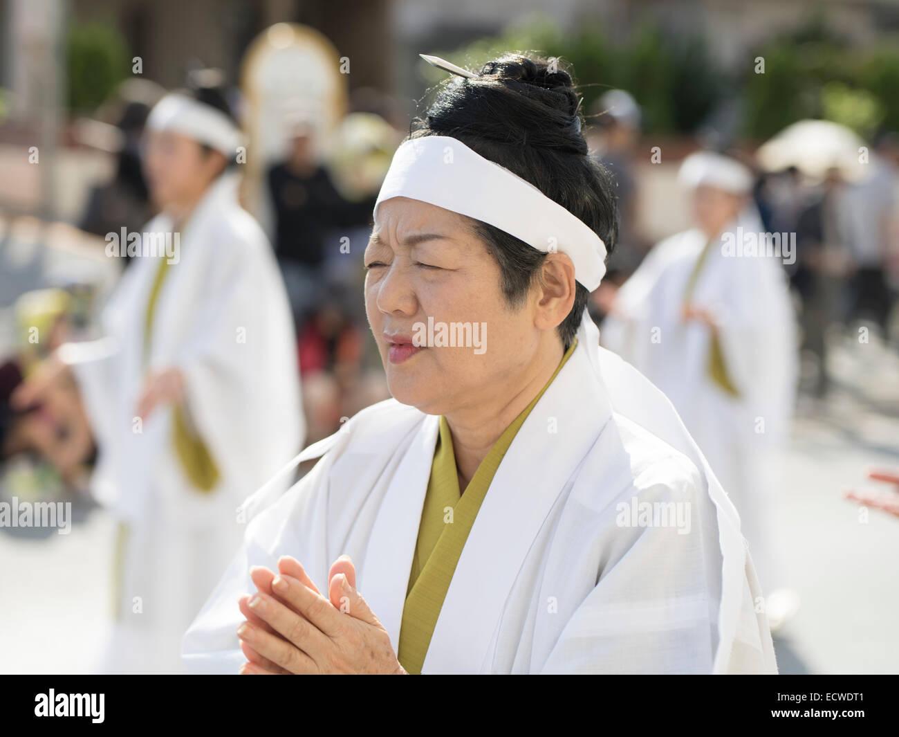 Yuta / noro / priestess at Shuri Castle Festival held in Naha City, Okinawa. - Stock Image