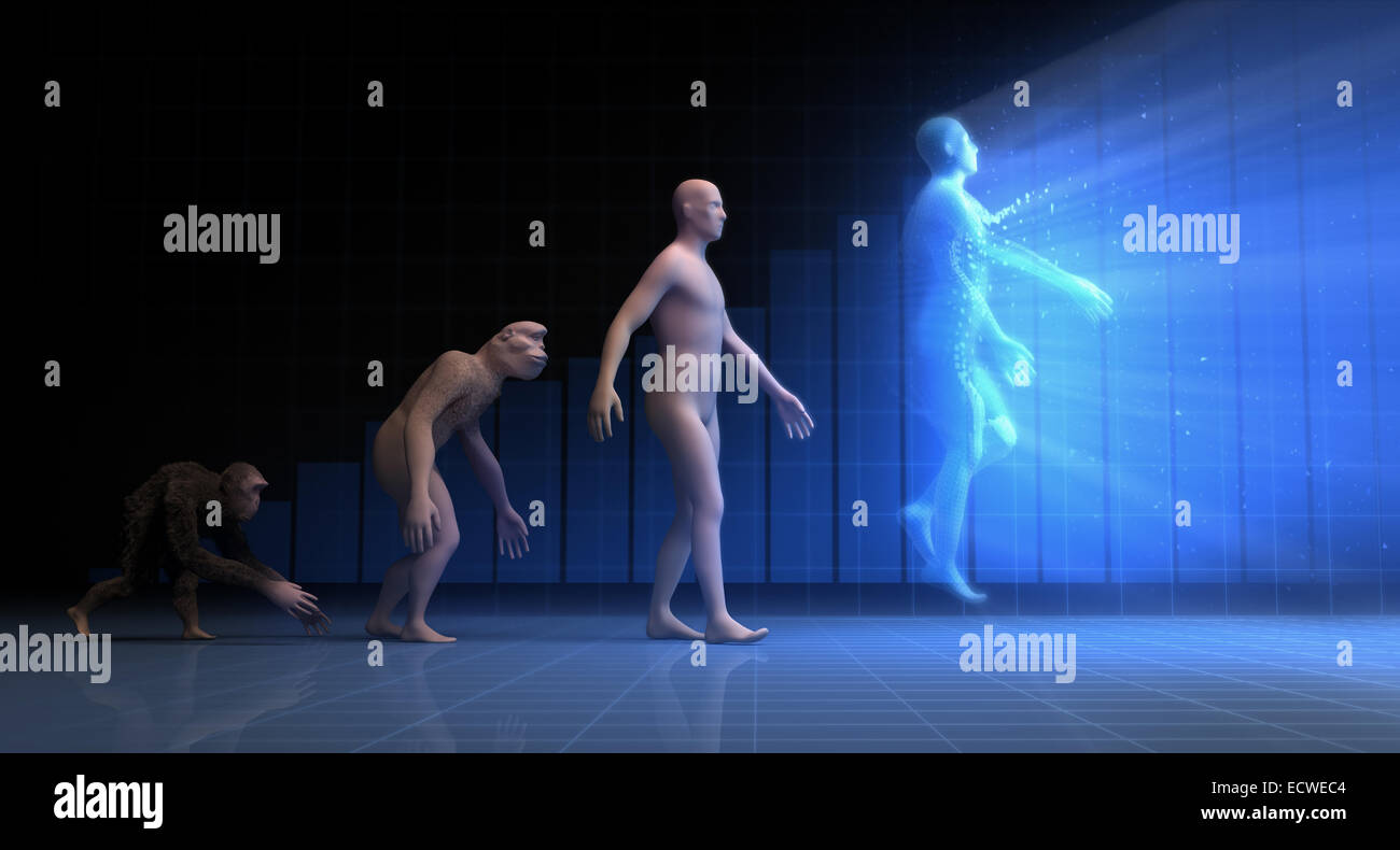 Evolution: from monkey to energy. - Stock Image