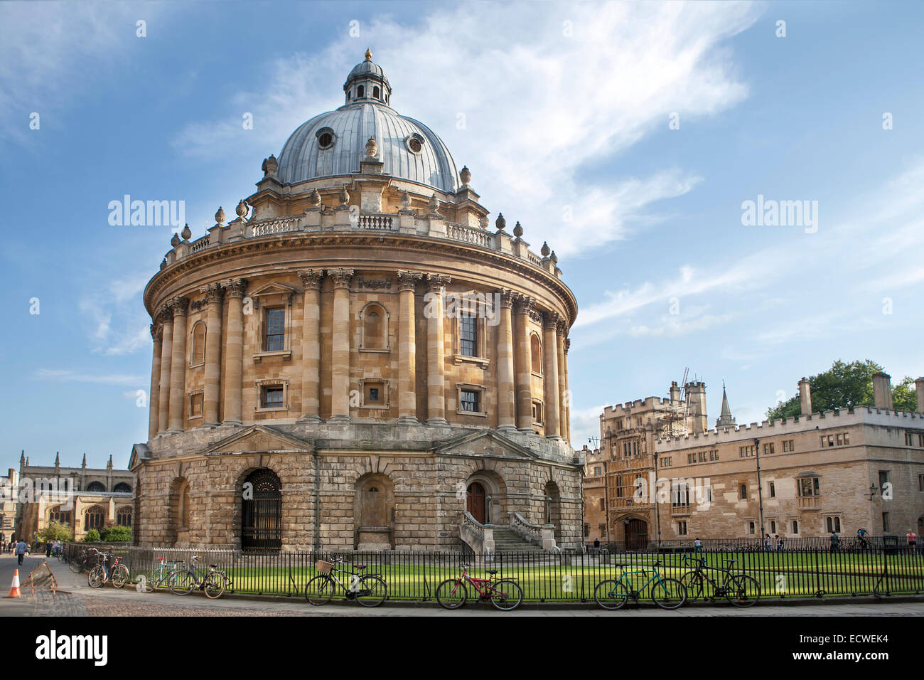 Oxford, UK - August 27, 2014: view of the Radcliffe Camera with All Souls College in Oxford, UK. The historic building - Stock Image