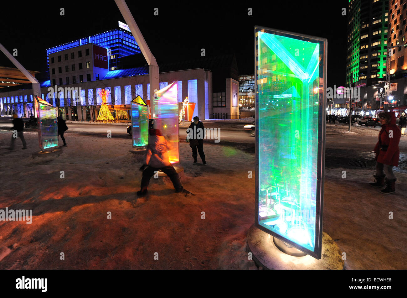 Montreal, Canada. 19th Dec, 2014. Visitors enjoy the Prisms Gallery in downtown Montreal, Canada, Dec. 19, 2014. - Stock Image