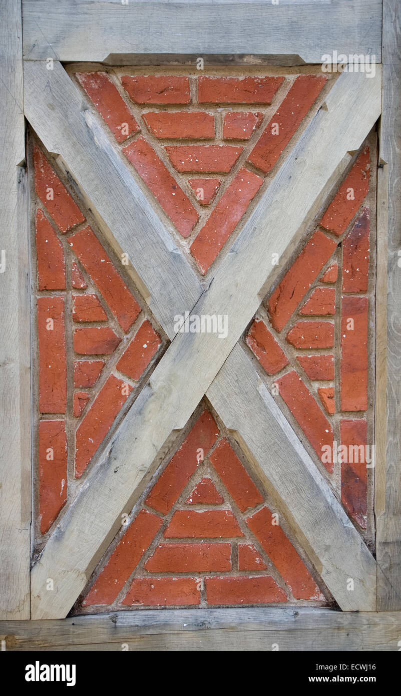 Copy of Half-timbering. From The Old Town at Aarhus, Denmark - Stock Image